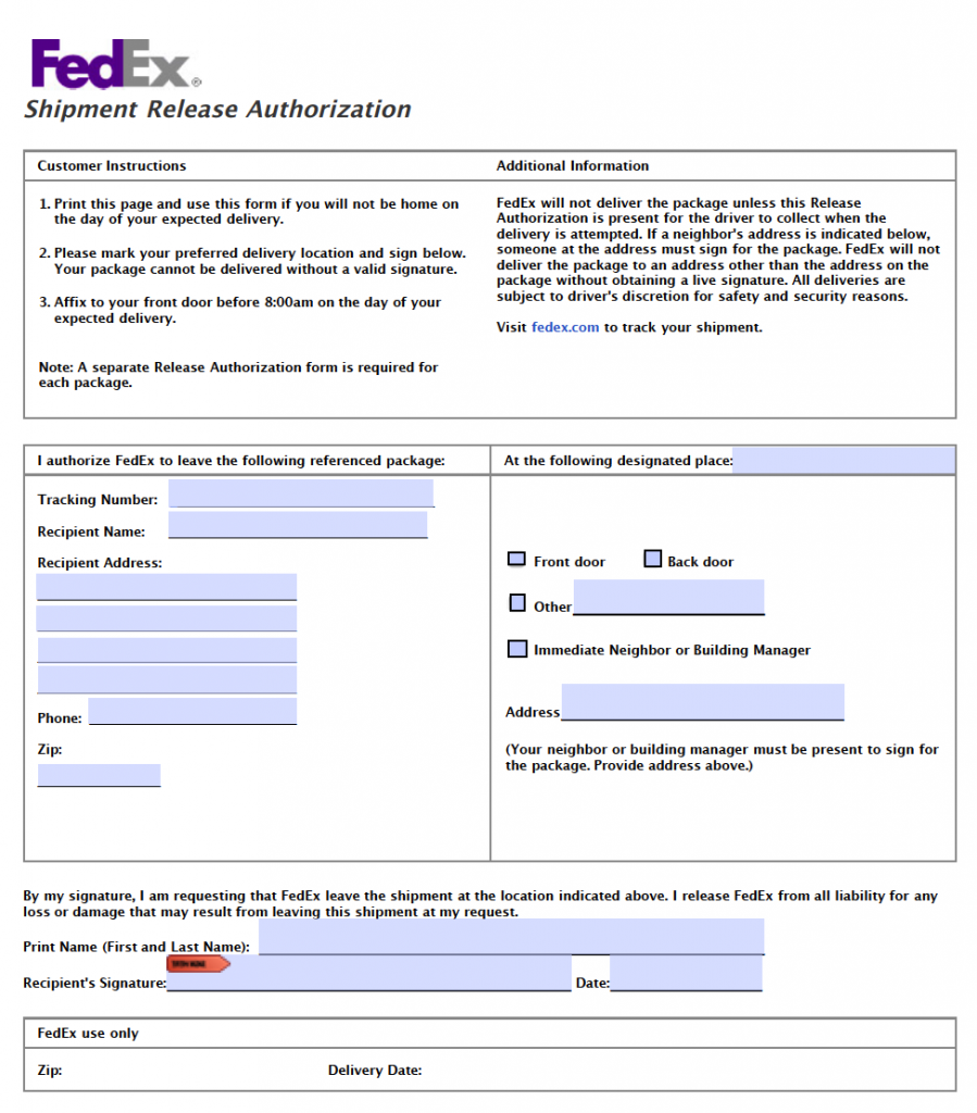 Fedex Release Signature Form Leave Packages At Door Without