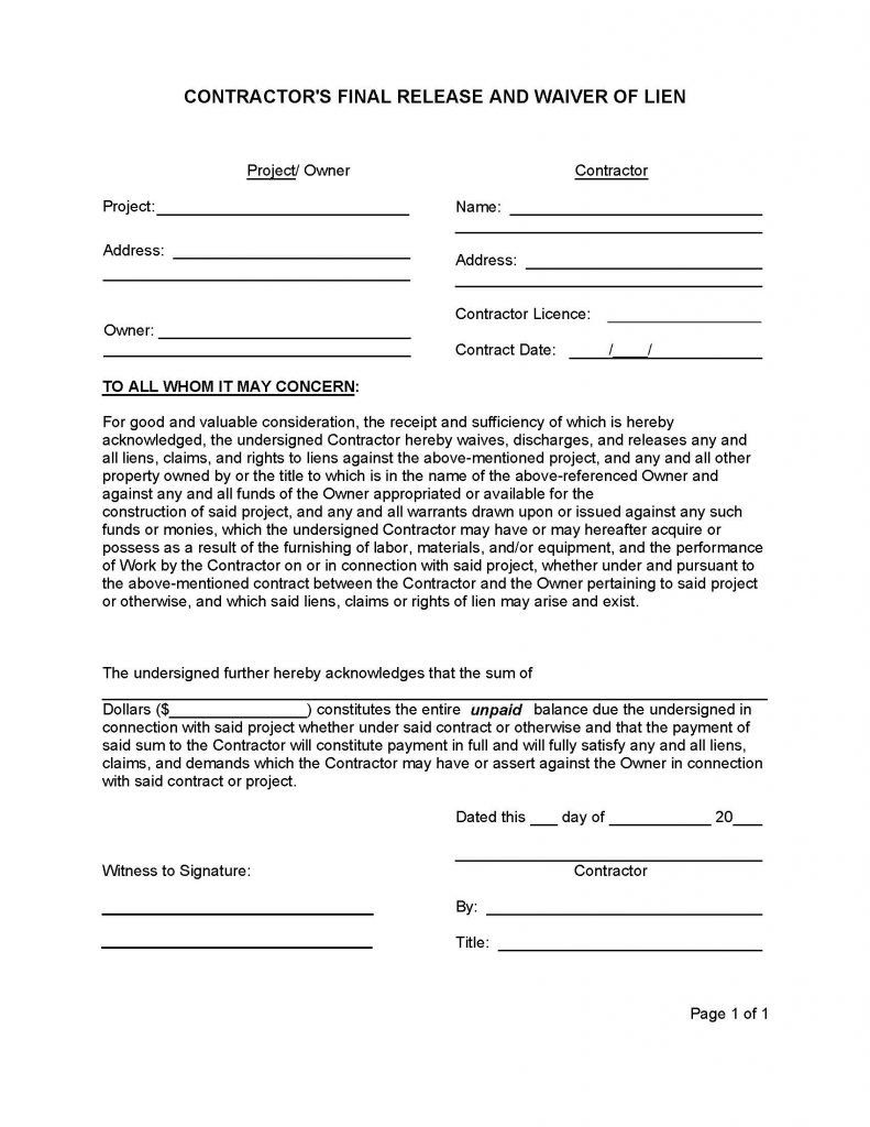 Contractor Release Form (Final Waiver of Lien) - Release Forms ...