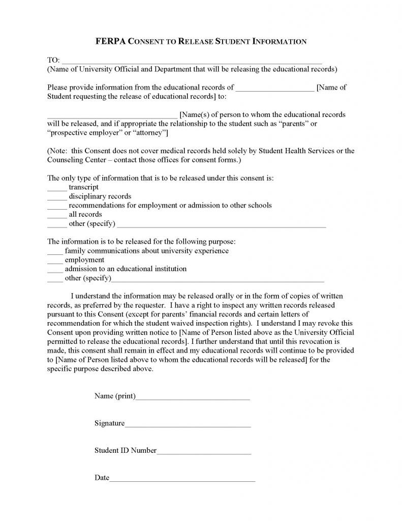 FERPA Consent to Release Student Information Form - Release Forms ...