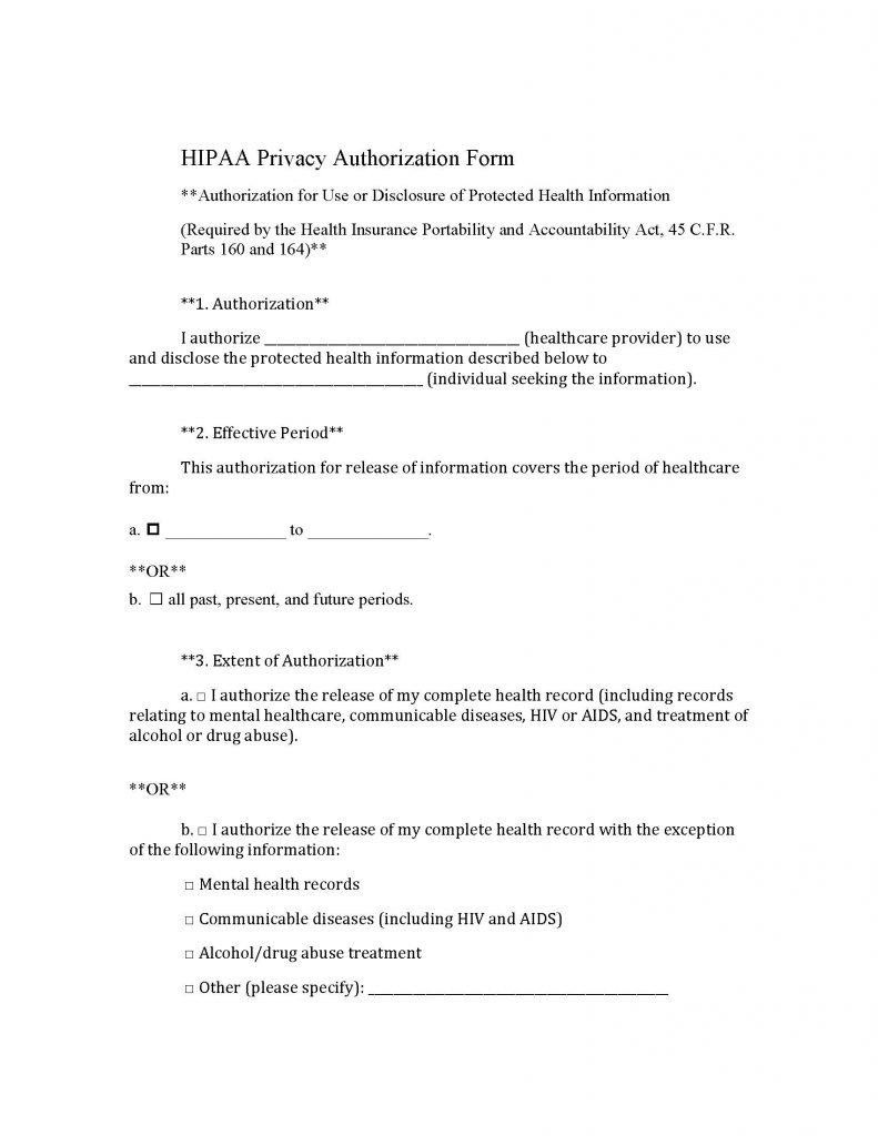 Medical Records (HIPAA) Standard Release Form