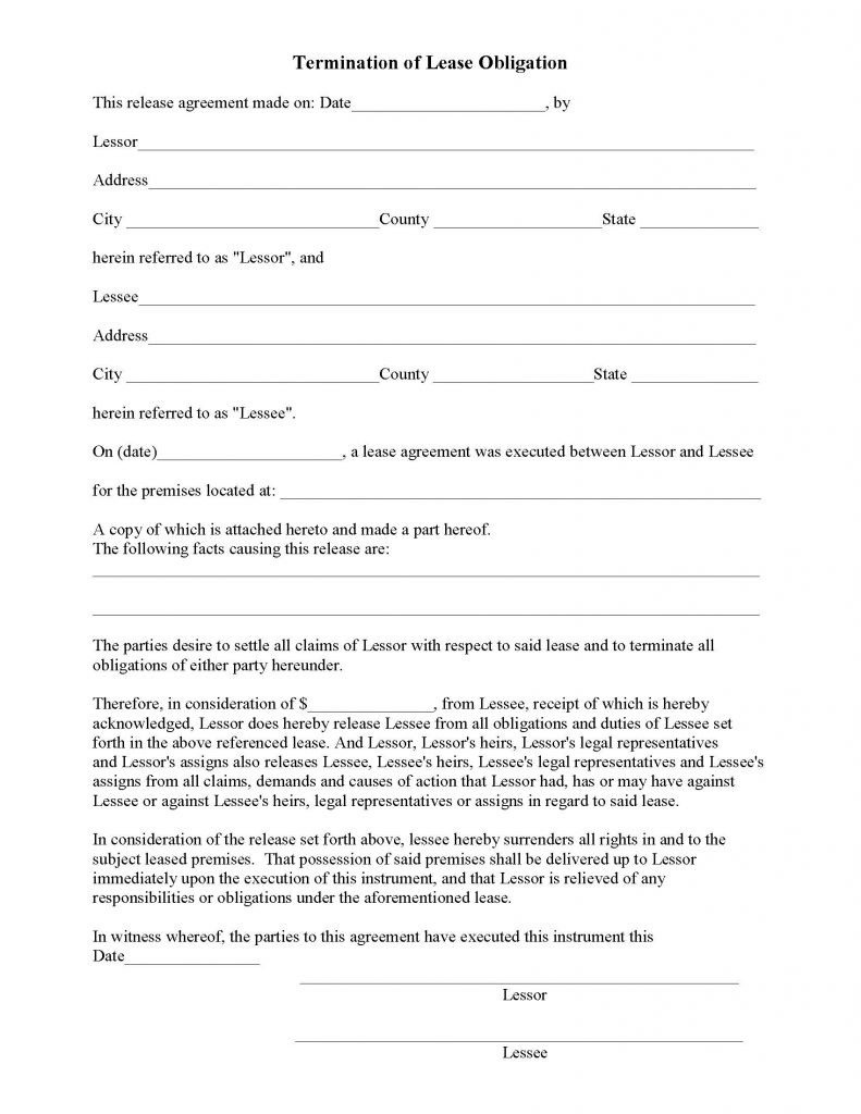 Lease Release Form Termination of Lease Obligation Release – Lease Termination Form