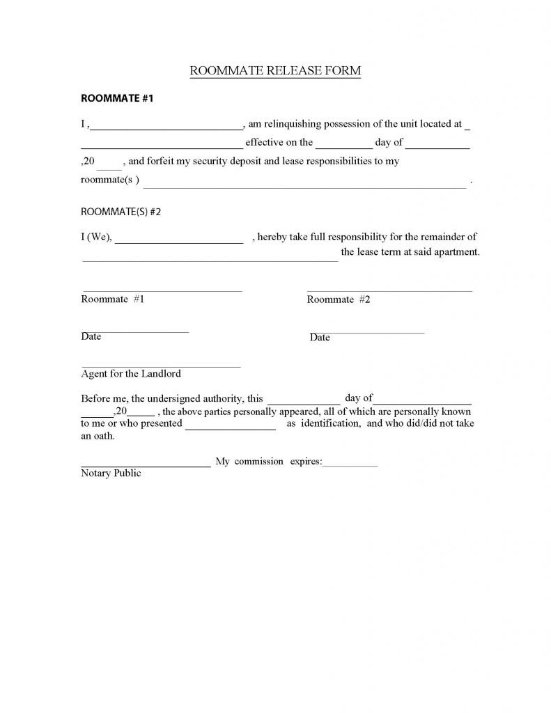 Roommate Release Form Release Forms Release Forms – Image Release Form