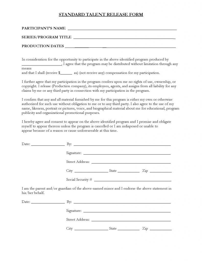 Standard photo release form media release form word for Standard model release form template