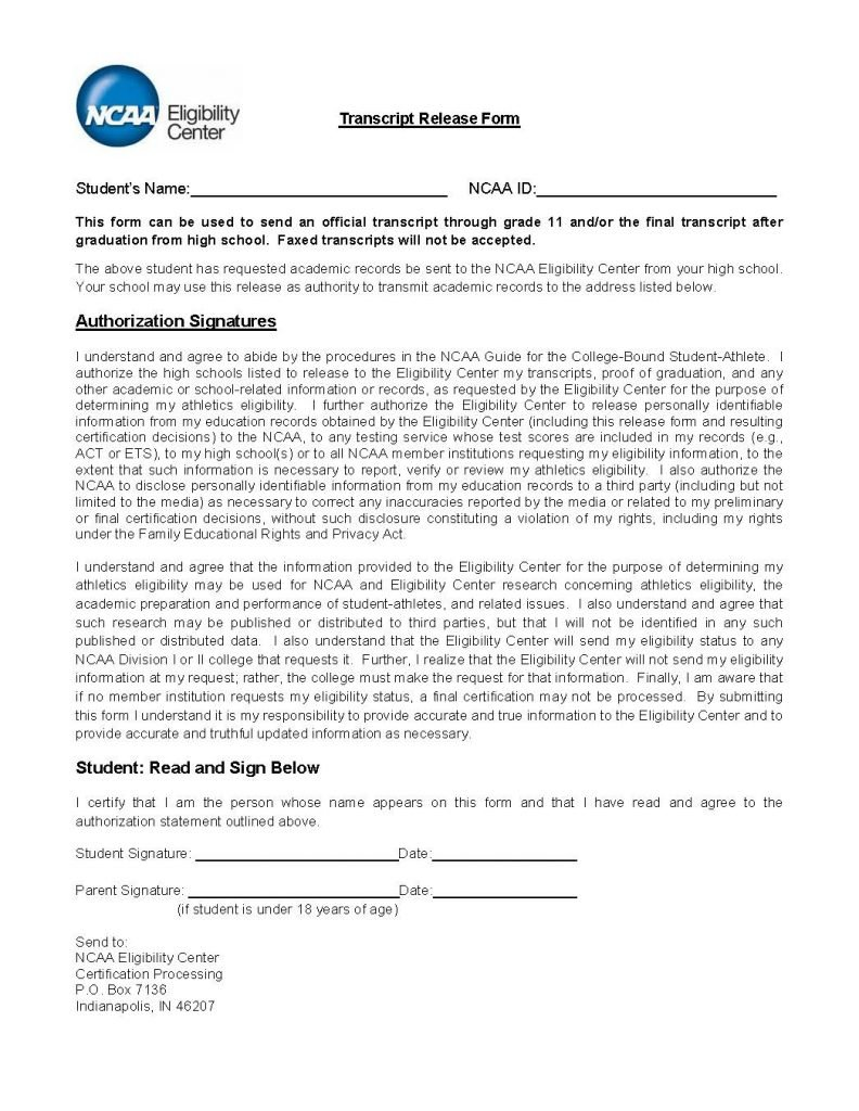 Transcript Release Form Release Forms Release Forms – Parental Release Form